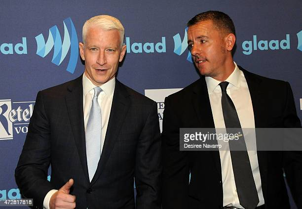 Anderson Cooper and Benjamin Maisani attend the 26th Annual GLAAD Media Awards at The Waldorf Astoria on May 9 2015 in New York City