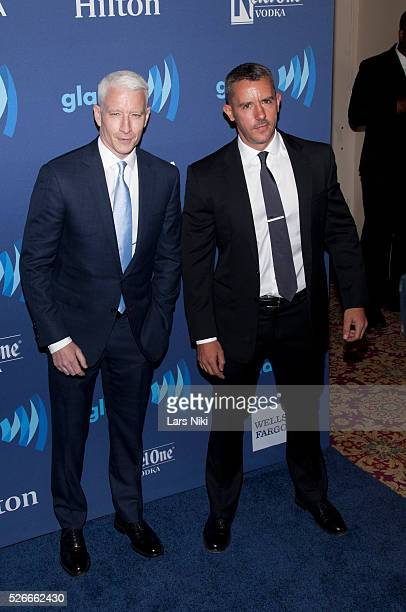Anderson Cooper and Benjamin Maisani attend the 26th Annual GLAAD Media Awards at the Waldorf Astoria in New York City �� LAN