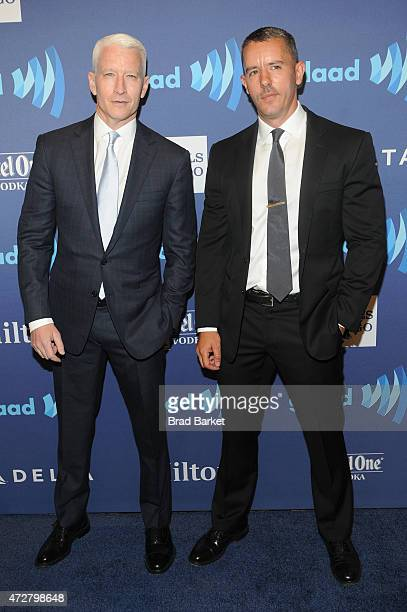 Anderson Cooper and Benjamin Maisani attend the VIP Red Carpet Suite hosted by Ketel One Vodka at the 26th Annual GLAAD Media Awards in New York on...