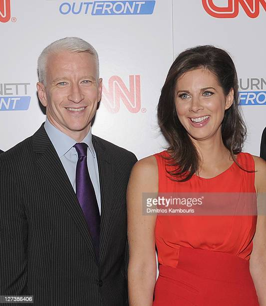 """Anderson Cooper and Erin Burnett attend the launch party for CNN's """"Erin Burnett OutFront"""" at Robert atop the Museum of Arts and Design on September..."""