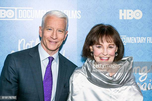 """Anderson Cooper and Gloria Vanderbilt attend """"Nothing Left Unsaid"""" Premiere at Time Warner Center on April 4, 2016 in New York City."""