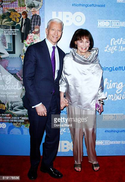 Anderson Cooper and Gloria Vanderbilt attend the Nothing Left Unsaid premiere at Time Warner Center on April 4 2016 in New York City