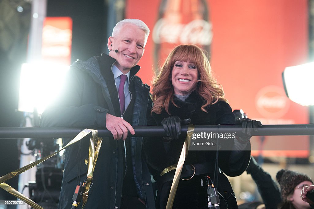 Anderson Cooper and Kathy Griffin host 'New Year's Eve Live' on CNN during New Year's Eve 2017 in Times Square on December 31, 2016 in New York City.