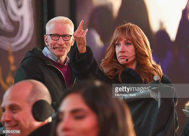 Anderson Cooper and Kathy Griffin on New Year's Eve 2016 In Times Square at Times Square on December 31 2015 in New York City