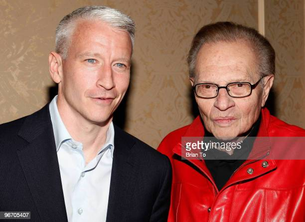 Anderson Cooper and Larry King attend charity fundraiser for Sheila Kar Health Foundation at The Beverly Hilton hotel on February 14 2010 in Beverly...