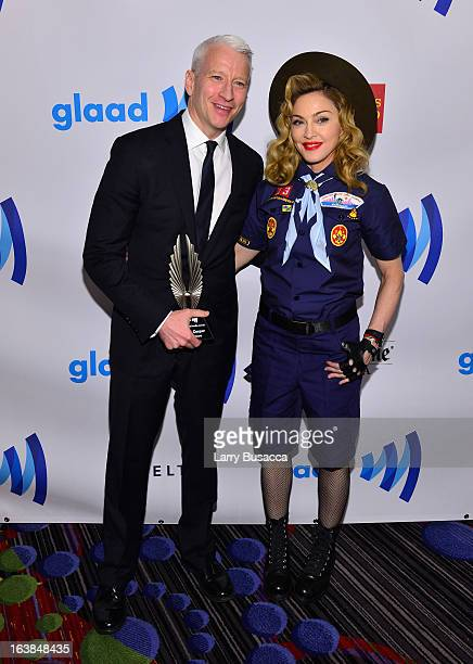 Anderson Cooper and Madonna attend the 24th Annual GLAAD Media Awards on March 16 2013 in New York City
