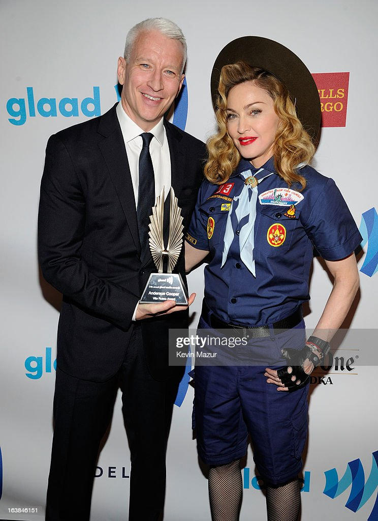 Anderson Cooper and Madonna pose backstage at the 24th Annual GLAAD Media Awards at Marriot Marquis on March 16, 2013 in New York City.
