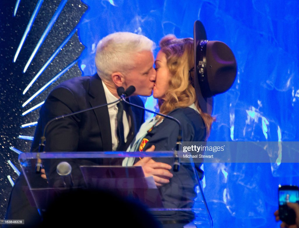 Anderson Cooper (L) and musician Madonna attend the 24th annual GLAAD Media awards at The New York Marriott Marquis on March 16, 2013 in New York City.