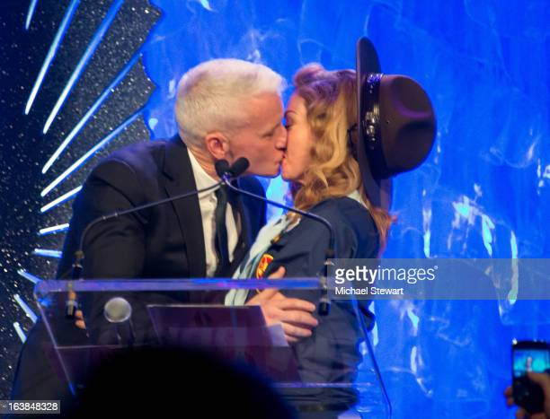 Anderson Cooper and musician Madonna attend the 24th annual GLAAD Media awards at The New York Marriott Marquis on March 16 2013 in New York City
