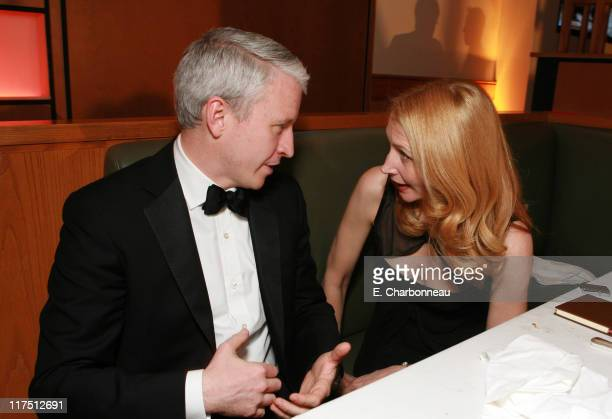 Anderson Cooper and Patricia Clarkson during 2006 Vanity Fair Oscar Party Hosted by Graydon Carter at Morton's in Beverly Hills California United...