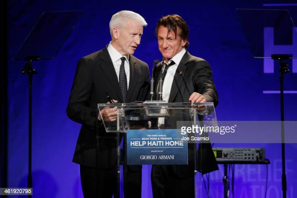 Anderson Cooper and Sean Penn speak onstage during the 3rd annual Sean Penn Friends HELP HAITI HOME Gala benefiting J/P HRO presented by Giorgio...