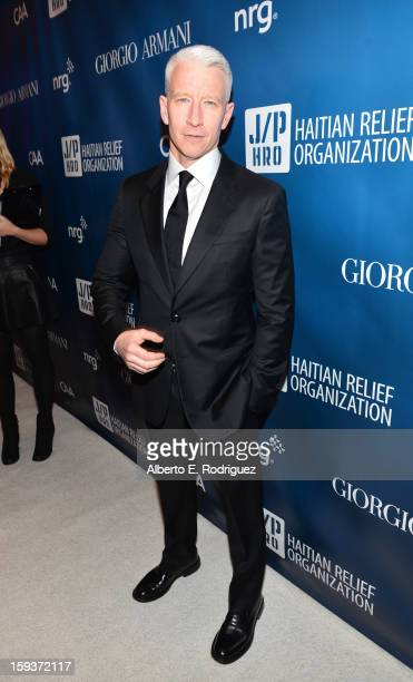 Anderson Cooper attends the 2nd Annual Sean Penn and Friends Help Haiti Home Gala benefiting J/P HRO presented by Giorgio Armani at Montage Hotel on...