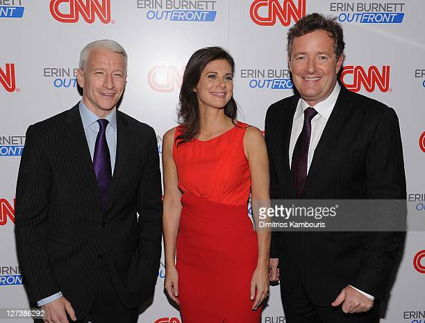 """Anderson Cooper, Erin Burnett and Piers Morgan attend the launch party for CNN's """"Erin Burnett OutFront"""" at Robert atop the Museum of Arts and Design..."""