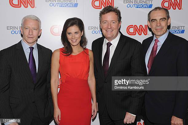 """Anderson Cooper, Erin Burnett, Piers Morgan and Ken Jautz attend the launch party for CNN's """"Erin Burnett OutFront"""" at Robert atop the Museum of Arts..."""