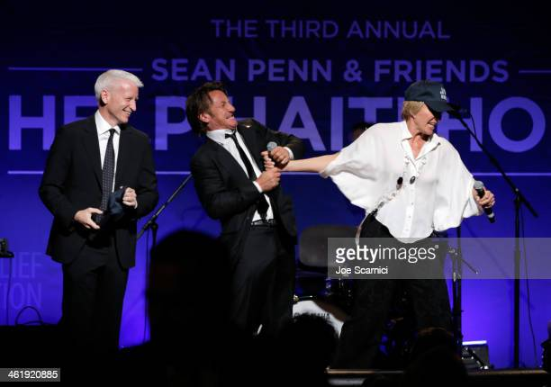 Anderson Cooper Sean Penn and Emma Thompson speak onstage during the 3rd annual Sean Penn Friends HELP HAITI HOME Gala benefiting J/P HRO presented...