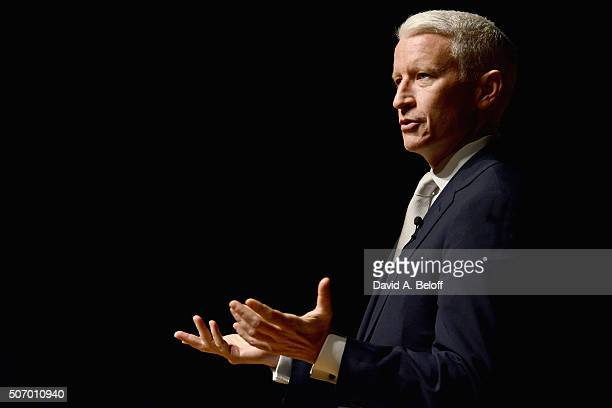 Anderson Cooper speaks to the Norfolk Forum at Chrysler Hall on January 26 2016 in Norfolk Virginia