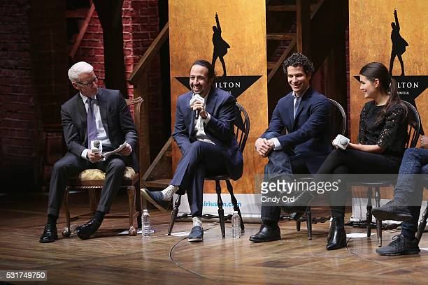 Anderson Cooper speaks with Hamilton Cast and Crew members LinManuel Miranda Thomas Kail and Phillipa Soo onstage at SiriusXM Town Hall with HAMILTON...