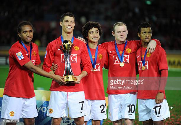 Anderson Cristiano Ronaldo Rafael Da Silva Wayne Rooney and Nani of Manchester United with the FIFA Club World Cup 2008 trophy