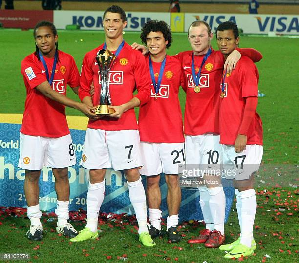 Anderson Cristiano Ronaldo Rafael Da Silva Wayne Rooney and Nani of Manchester United poses with the FIFA World Club Cup after the FIFA World Club...
