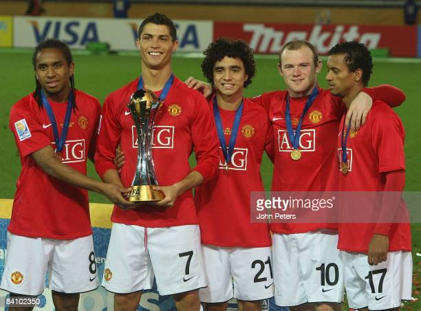 Anderson, Cristiano Ronaldo, Rafael Da Silva, Wayne Rooney and Nani of Manchester United poses with the FIFA World Club Cup after the FIFA World Club...