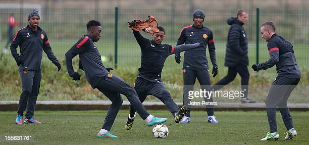 Anderson, Danny Welbeck, Nani, Antonio Valencia and Tom Cleverley of Manchester United in action during a first team training session, ahead of their...