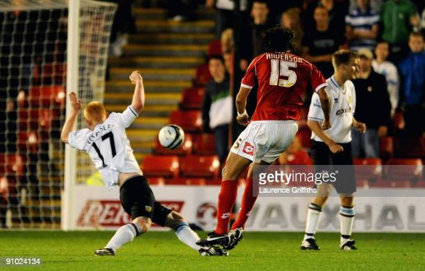 Anderson De Silva of Barnsley scores the second goal during the Carling Cup Third Round game between Barnsley and Burnley at Oakwell on September 22,...