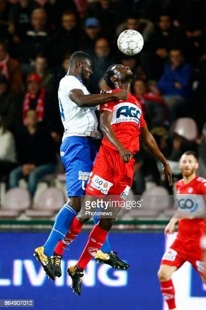 Anderson Esiti midfielder of KAA Gent and Bennard Kumordzi defender of KV Kortrijk pictured during Jupiler Pro League match between KV Kortrijk and...