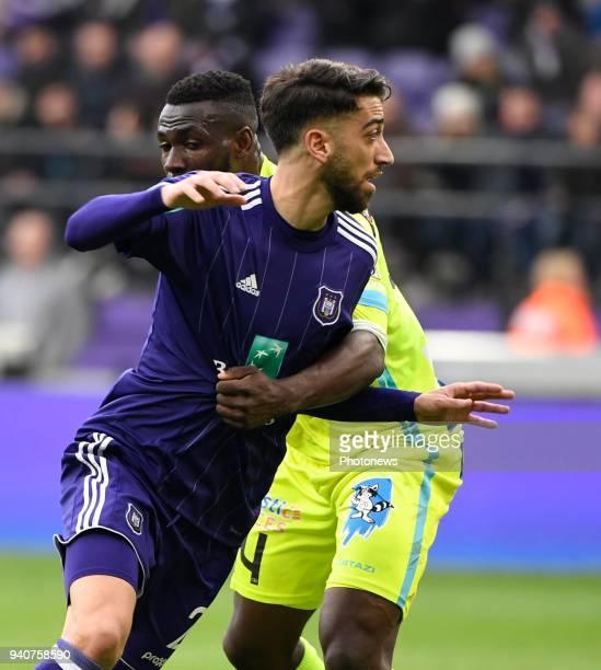 Anderson Esiti midfielder of KAA Gent and Josue Sa defender of RSC Anderlecht during the Jupiler Pro League PlayOff 1 match between RSC Anderlecht...