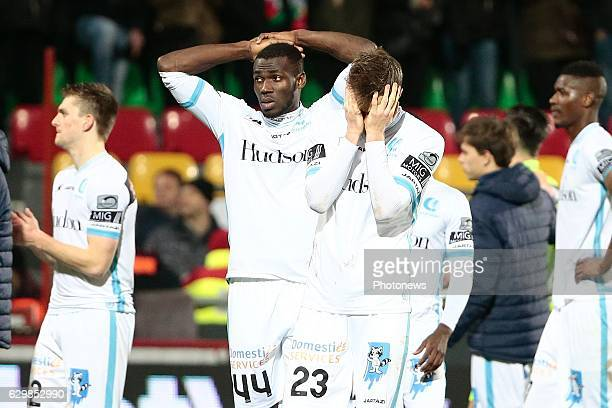 Anderson Esiti midfielder of KAA Gent and Lasse Nielsen defender of KAA Gent looks dejected on the final whistle after the defeat during the Croky...