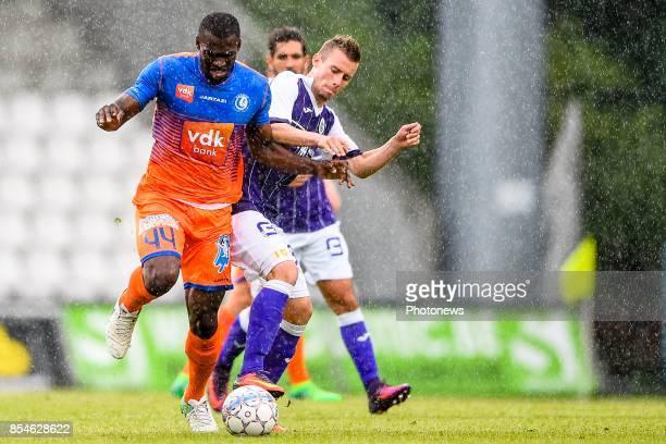 Anderson Esiti midfielder of KAA Gent and Tom Pietermaat of Beerschot Wilrijk pictured during the friendly game between KFCO Beerschot Wilrijk and...