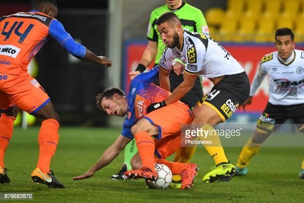 Anderson Esiti midfielder of KAA Gent Brecht Dejaegere midfielder of KAA Gent Medhi Terki midfielder of Sporting Lokeren during the Jupiler Pro...