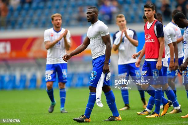 Anderson Esiti midfielder of KAA Gent looks dejected on the final whistle after the draw during the Jupiler Pro League match between KAA Gent and KRC...