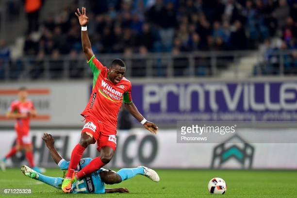 Anderson Esiti midfielder of KAA Gent makes a fault on Landry Nany Dimata forward of KV Oostende during the Jupiler Pro League Play Off 1 match...