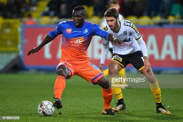 Anderson Esiti midfielder of KAA Gent Samy Kehli midfielder of Sporting Lokeren during the Jupiler Pro League match between Sporting Lokeren and KAA...