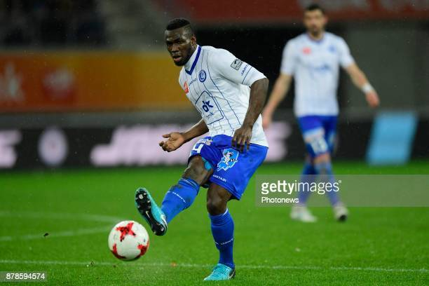 Anderson Esiti midfielder of KAA Gent shoots the ball during the Jupiler Pro League match between KAA Gent and Royal Excel Mouscron at the Ghelamco...