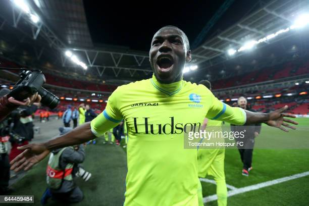 Anderson Esitia of Gent celebrates after the UEFA Europa League Round of 32 second leg match between Tottenham Hotspur and KAA Gent at Wembley...
