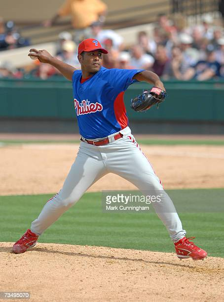Anderson Garcia of the Philadelphia Phillies pitches during the game against the Detroit Tigers at Joker Marchant Stadium in Lakeland Florida on...