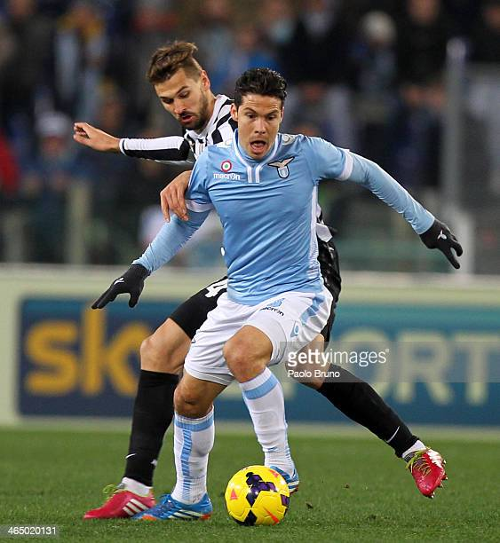 Anderson Hernanes of SS Lazio competes for the ball with Fernando Llorente of Juventus during the Serie A match between SS Lazio and Juventus at...