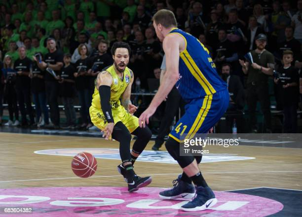 anderson kyan of medi bayreuth and Qvale Brian of Oldenburg battle for the ball during the easyCredit BBL match between medi bayreuth and EWE Baskets...