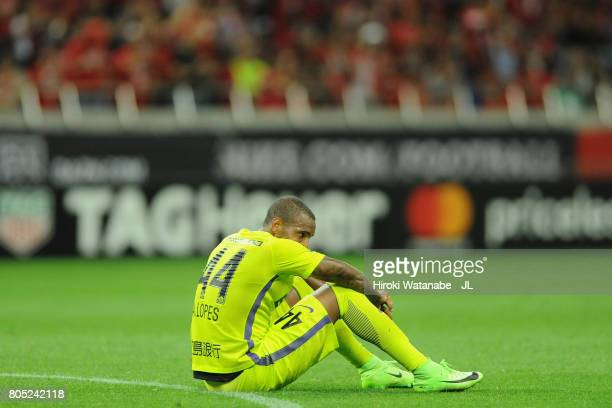 Anderson Lopes of Sanfrecce Hiroshima shows dejection after his side's 23 defeat in the JLeague J1 match between Urawa Red Diamonds and Sanfrecce...
