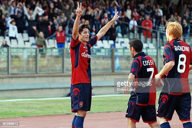 Anderson Miguel Da Silva Of Cagliari celebrates a goal during the Serie A match between Cagliari and Atalanta BC at Stadio Sant'Elia on November 1...