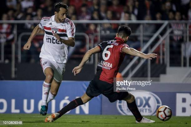 Anderson 'Nene' Luiz de Carvalho and Emmanuel Oliveira during a match between São Paulo and Colon a match valid for the Copa Sudamericana 2018 at the...
