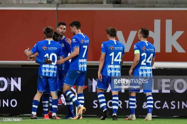 Anderson Niangbo of KAA Gent celebrates 1-0 with Giorgi Chakvetadze of KAA Gent, Roman Yaremchuk of KAA Gent, Alessio Castro Montes of KAA Gent, Sven...