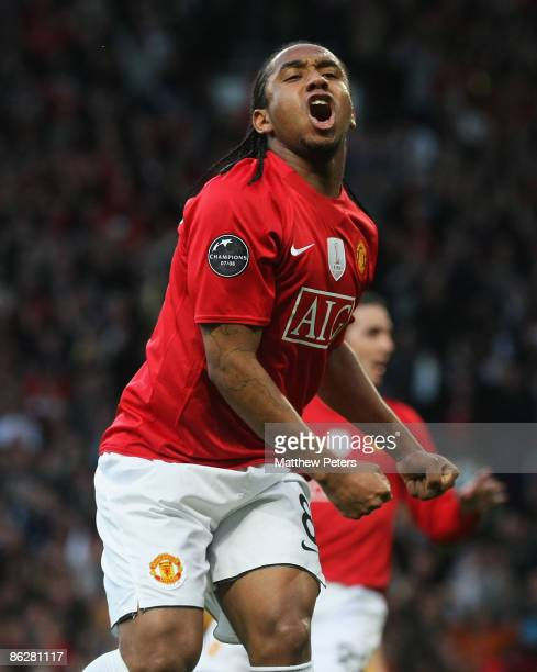 Anderson of Manchester United celebrates John O'Shea scoring their first goal during the UEFA Champions League SemiFinal first leg match between...