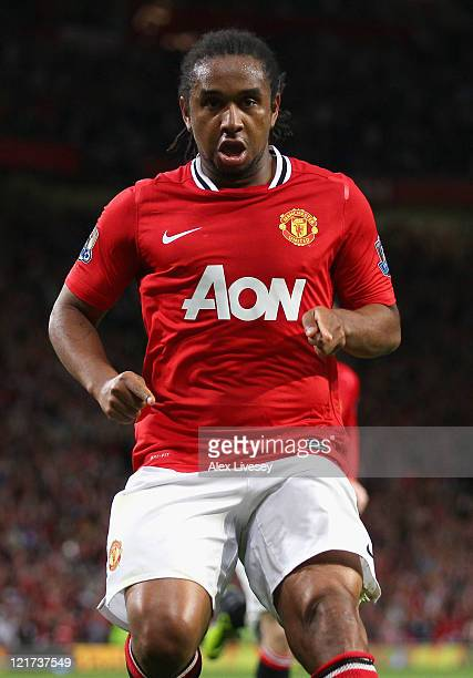 Anderson of Manchester United celebrates scoring his side's second goal during the Barclays Premier League match between Manchester United and...