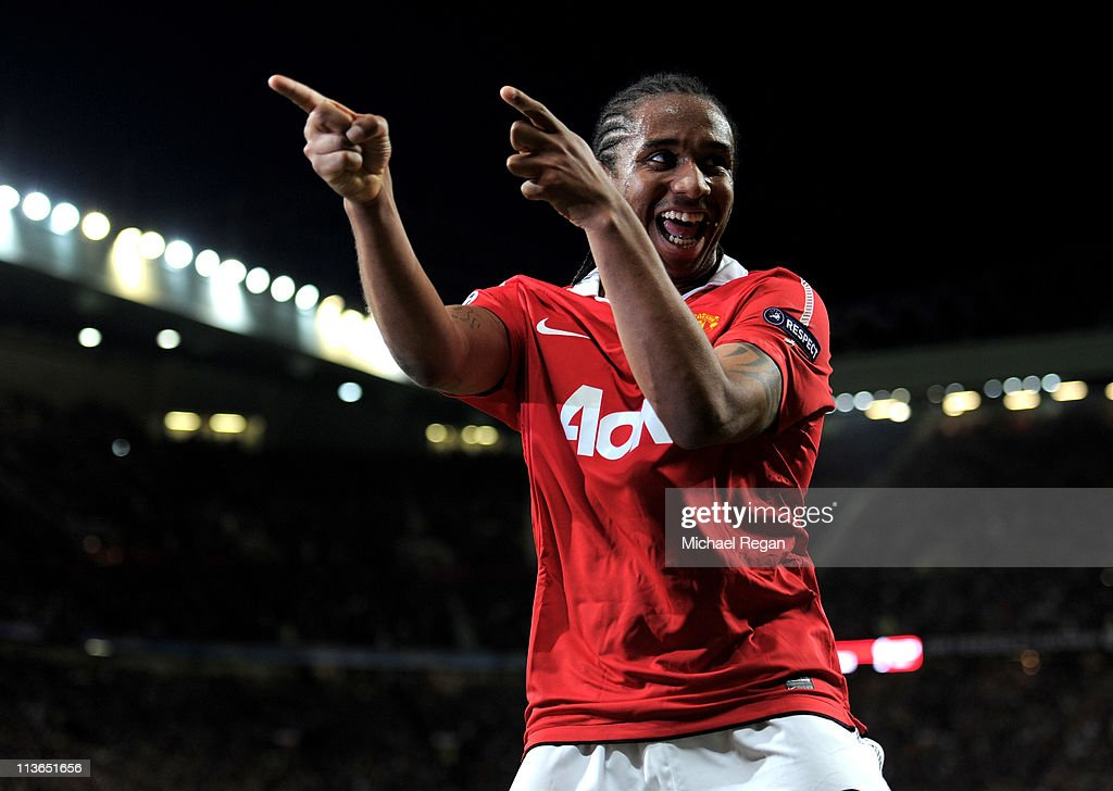Anderson of Manchester United celebrates scoring his team's fourth goal during the UEFA Champions League Semi Final second leg match between Manchester United and Schalke at Old Trafford on May 4, 2011 in Manchester, England.