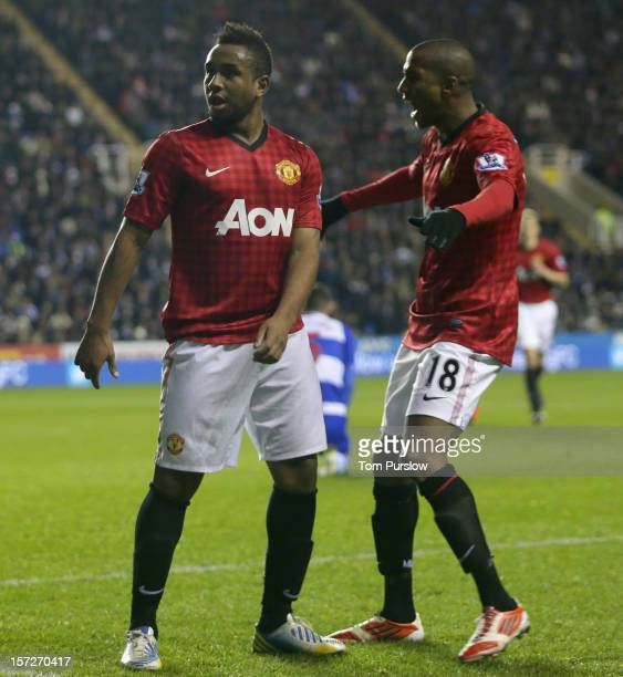 Anderson of Manchester United celebrates scoring their first goal during the Barclays Premier League match between Reading and Manchester United at...