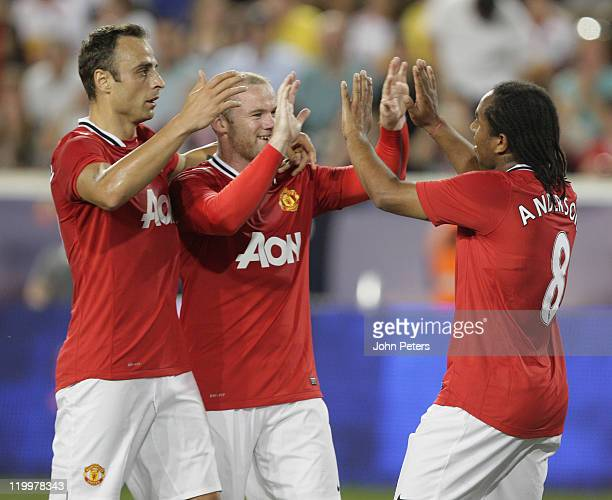 Anderson of Manchester United celebrates scoring their second goal during the MLS All Star match between MLS All Stars and Manchester United at Red...