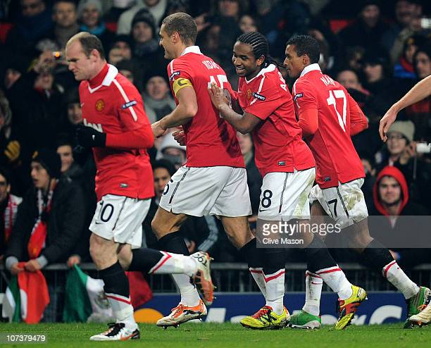 Anderson of Manchester United celebrates with his team mates afetr scoring his team's first goal during the UEFA Champions League Group C match...