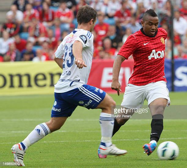Anderson of Manchester United clashes with Kristopher Haestad of Valerenga FC during the preseason match between Valerenga FC and Manchester United...